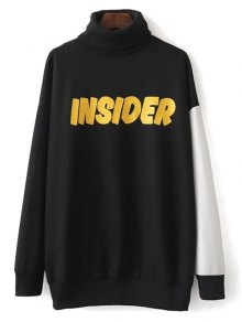 Turtle Neck Oversized Graphic Sweatshirt - Black L