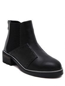 Buy Elastic Band Stitching Chain Ankle Boots 37 BLACK