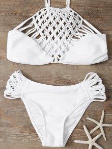 Hollow Out Halter Bikini - White S