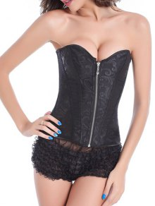Zip Up Lace Skeletoned Corset With G-String