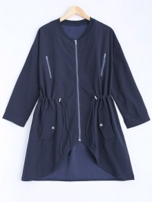 Stand Neck Plus Size Drawstring Coat