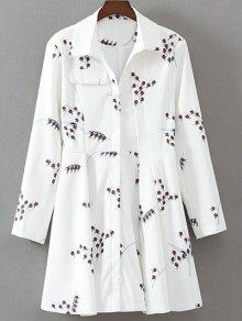 Printed Long Sleeve Skater Dress - White