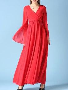 V Neck Chiffon Maxi Surplice Dress - Red