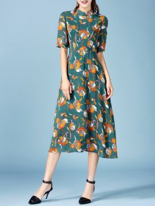 Printed Chiffon Midi Dress - Blackish Green