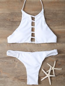 Halter Cutout Padded Bikini Set - White M