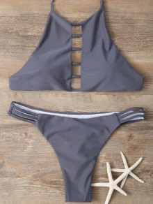 Halter Cutout Padded Bikini Set - Gray L