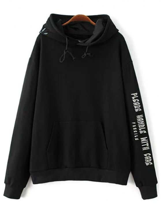 Embroidered Oversized Hoodie - BLACK L Mobile
