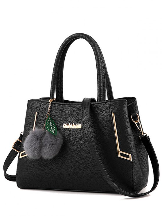 new Metal PU Leather Pom Pom Tote - BLACK