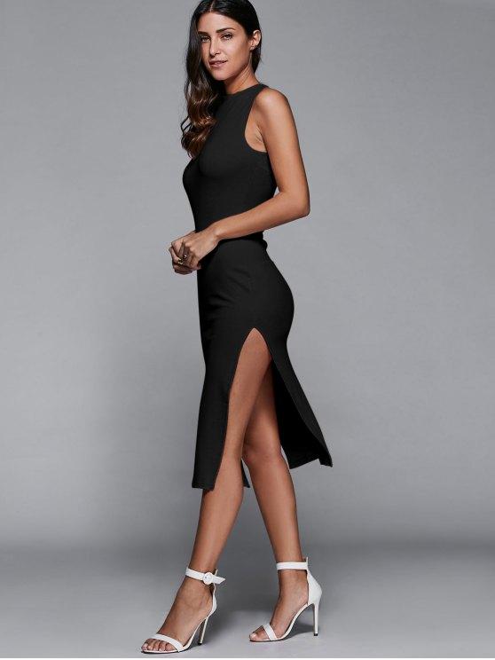 Side Slit Sleeveless Back Cutout Bodycon Dress - BLACK S Mobile