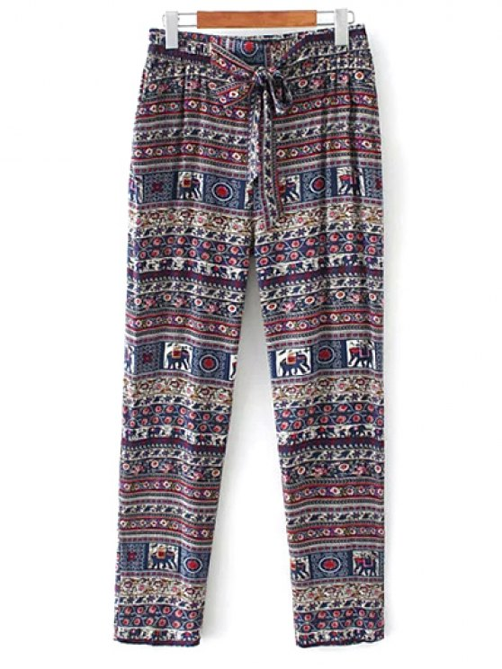 Printed Straight Cut Casual Pants - PURPLE S Mobile