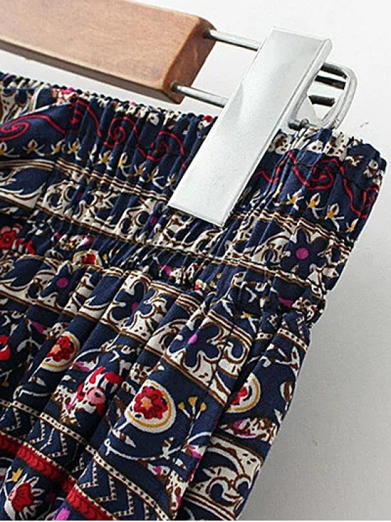 Printed Straight Cut Casual Pants - RED S Mobile