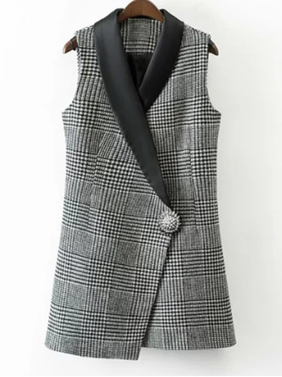 Houndstooth One Button Waistcoat - WHITE AND BLACK S Mobile