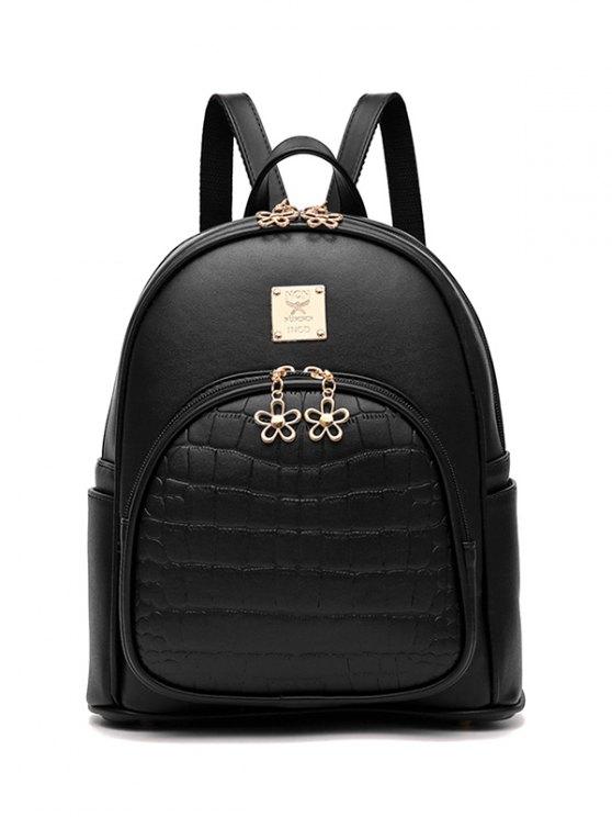 trendy PU Leather Crocodile Embossed Backpack - BLACK