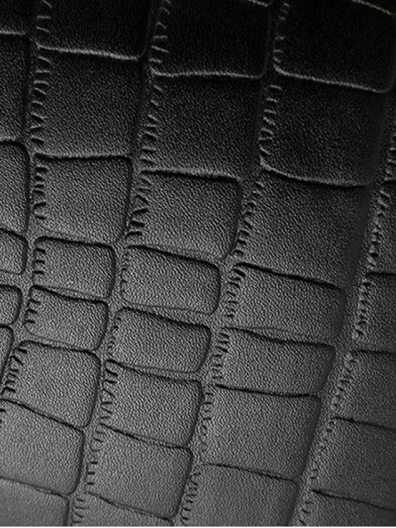 PU Leather Crocodile Embossed Backpack - BLACK  Mobile