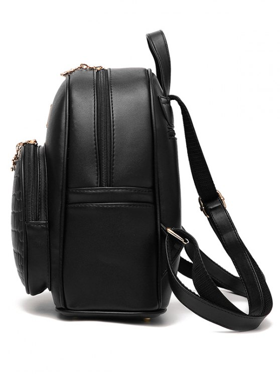 PU Leather Crocodile Embossed Backpack - OFF-WHITE  Mobile