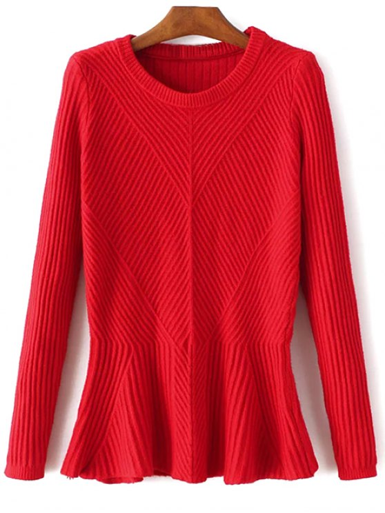Ribbed Peplum Sweater - RED ONE SIZE Mobile
