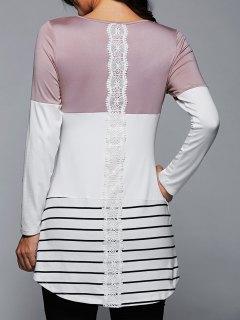 T-shirt à Manches Longues à Rayures Longues à Rayures - Rose Clair L