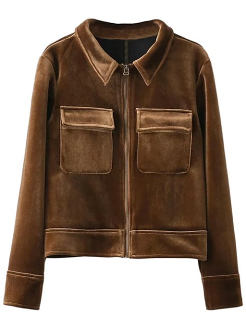 buy Zip Up Velvet Jacket - BROWN M Mobile