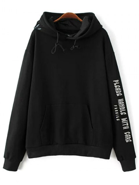 affordable Embroidered Oversized Hoodie - BLACK L Mobile