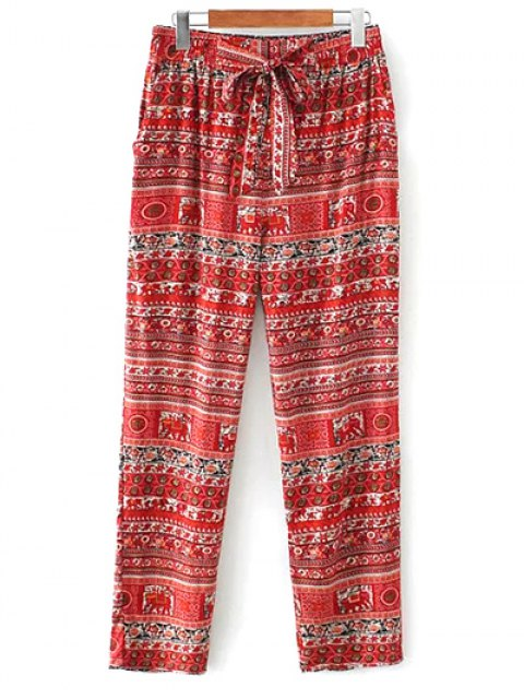 outfit Printed Straight Cut Casual Pants - RED S Mobile