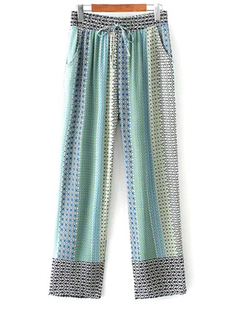trendy Printed Staight Cut Lounge Pants - BLUE M Mobile