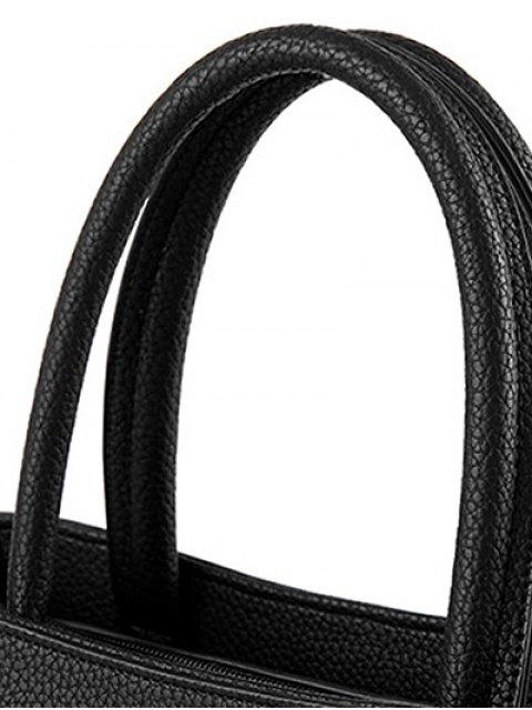 new Metal PU Leather Pom Pom Tote - BLACK  Mobile