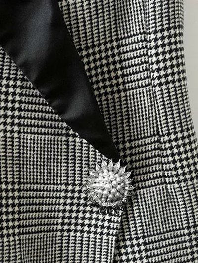 Houndstooth One Button Waistcoat - WHITE AND BLACK L Mobile