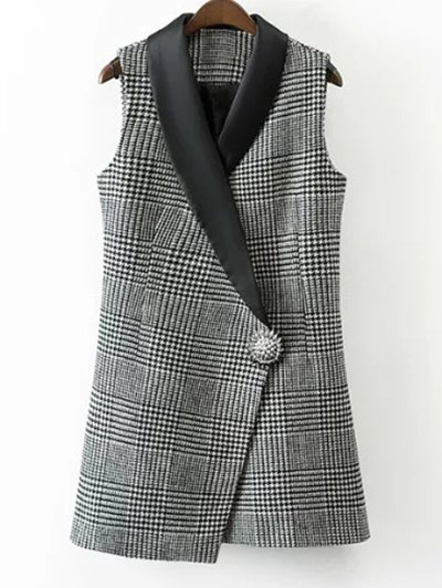 Houndstooth One Button Waistcoat - WHITE AND BLACK M Mobile