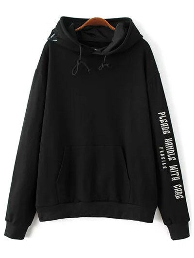 Embroidered Oversized Hoodie - Black