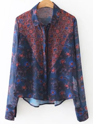 Floral Print Chiffon Shirt - Blue