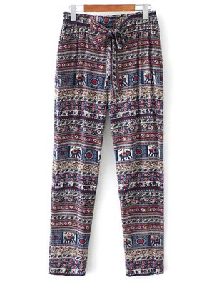 Printed Straight Cut Casual Pants - Purple