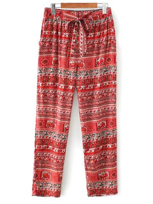 Printed Straight Cut Casual Pants - Red