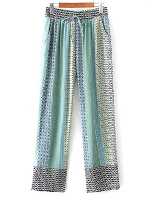 Printed Staight Cut Lounge Pants - Blue
