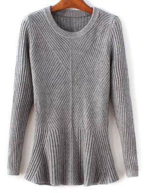 Ribbed Peplum Sweater - Gray