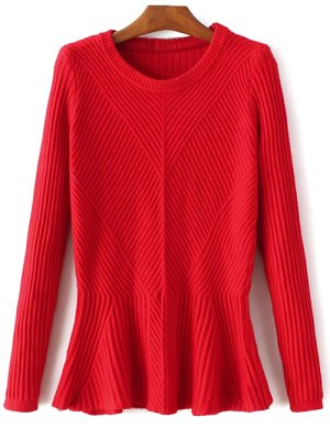 Ribbed Peplum Sweater - Red