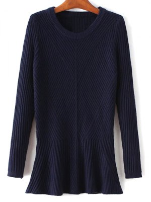 Ribbed Peplum Sweater - Purplish Blue