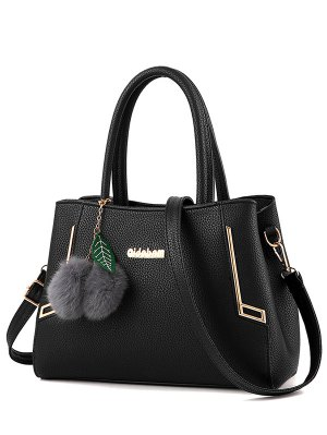 Metal PU Leather Pom Pom Tote