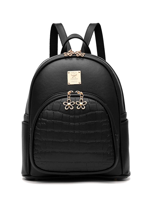 Crocodile Embossed PU Leather Backpack