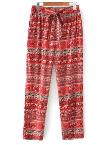 Printed Straight Cut Casual Pants