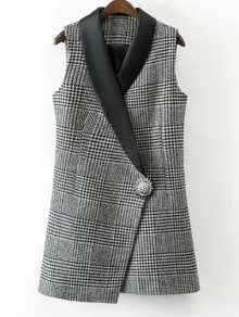 Houndstooth One Button Waistcoat - White And Black