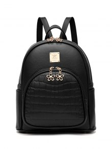 PU Leather Crocodile Embossed Backpack - Black