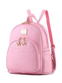 PU Leather Crocodile Embossed Backpack - Pink