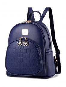 PU Leather Crocodile Embossed Backpack - Deep Blue