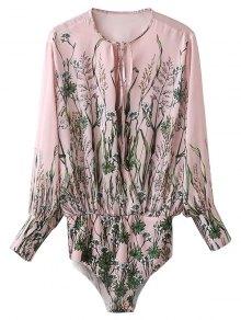 Floral Print Tie Neck Bodysuit - Pink S