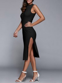 Side Slit Sleeveless Back Cutout Bodycon Dress - Black