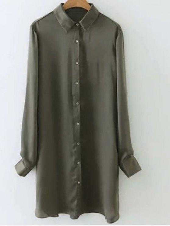 Camisa de seda bordada de Satén - Verde del ejército S