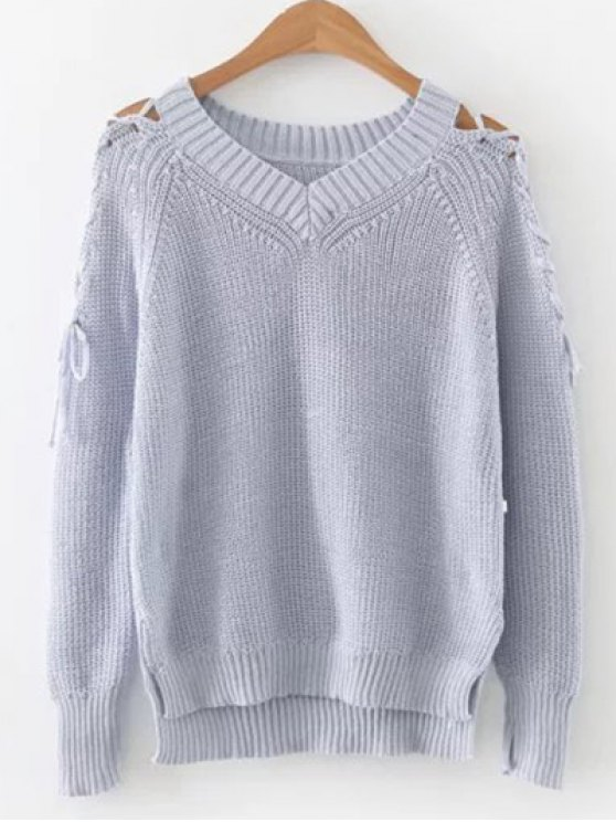 shops Step Hem Split Sleeve Jumper - LIGHT BLUE ONE SIZE