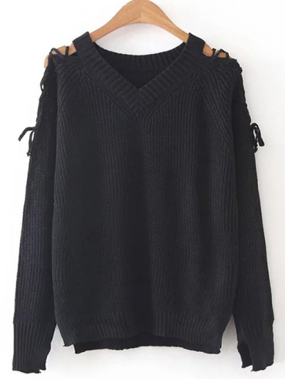 trendy Step Hem Split Sleeve Jumper - BLACK ONE SIZE