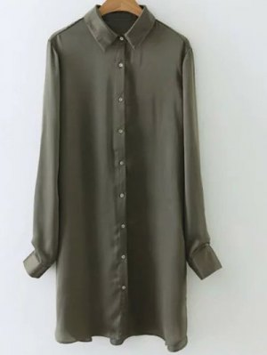 Silky Embroidered Back Satin Shirt - Army Green