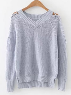Step Hem Split Sleeve Jumper - Light Blue